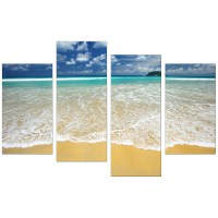 Canvas Wall Art of Tropical Beach for your Bathroom - Set of 4
