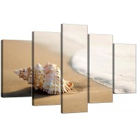 Beach Canvas Wall Art for your Bathroom - 5 Panel