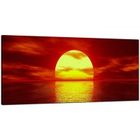 Modern Red Canvas Wall Art of a Sea Sunset