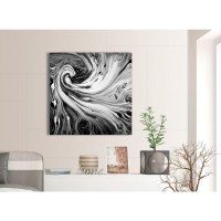 Black White Grey Swirls Modern Abstract Canvas Wall Art ...