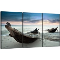 Cheap Beach Boats Canvas Wall Art Set of Three for your ...