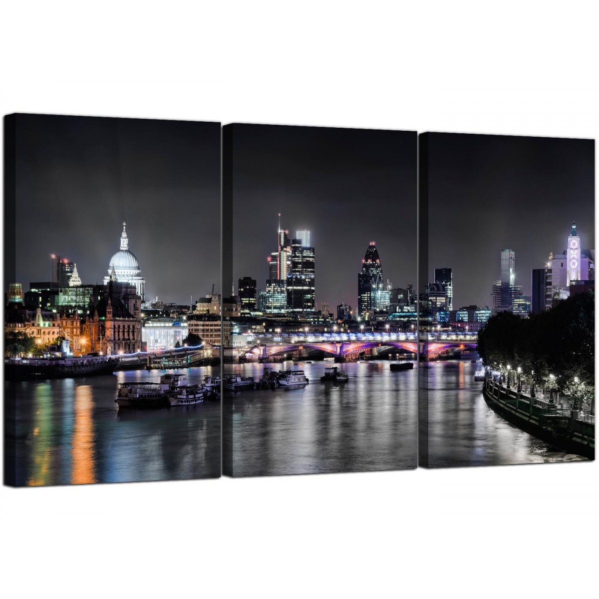 white and black sofa bed gunstig big kaufen cheap london skyline at night canvas art 3 panel for your ...