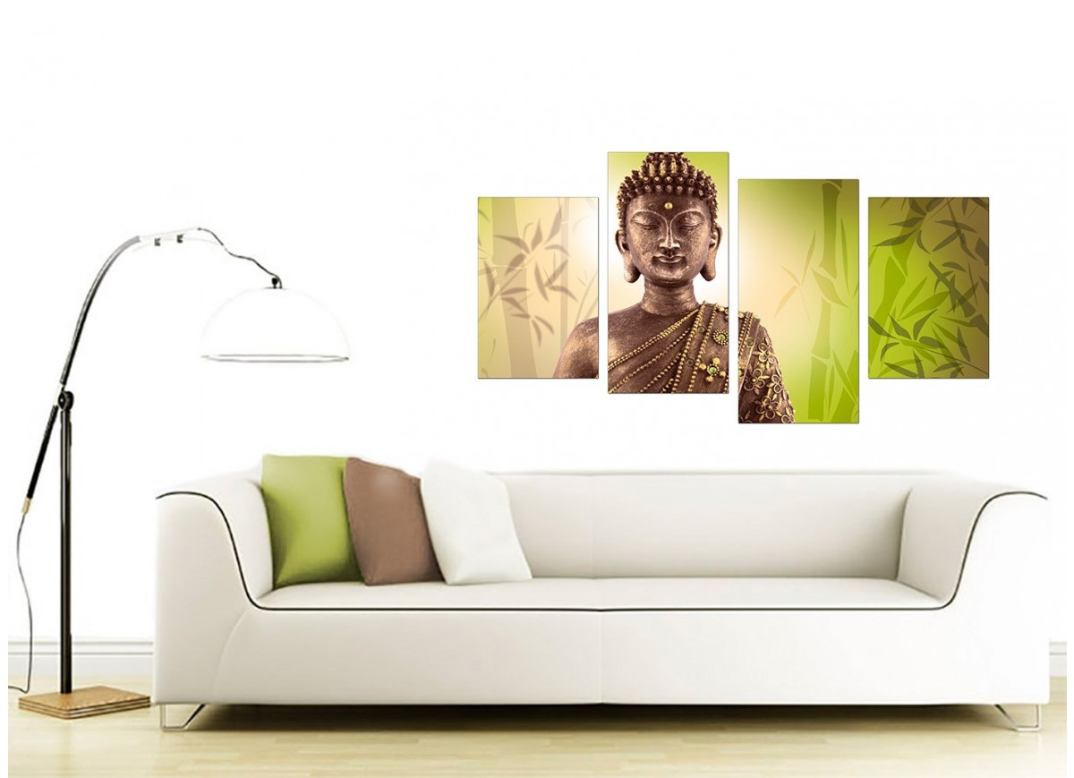 Canvas Art of Buddha in Green for your Living Room