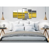 5 Panel Mustard Yellow Grey Painting Abstract Bedroom ...
