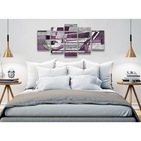 5 Piece Aubergine Grey White Painting Abstract Dining Room