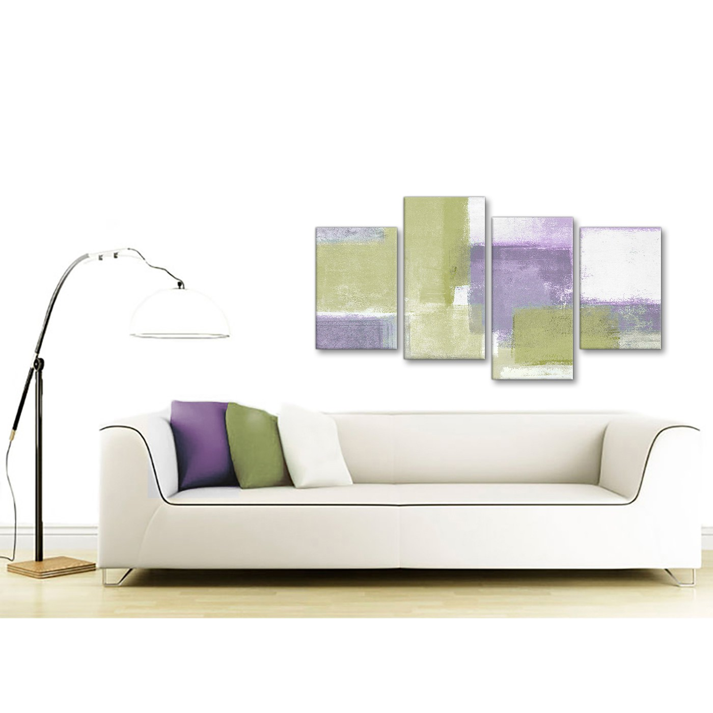 Large Lime Green Purple Abstract Painting Canvas Wall Art