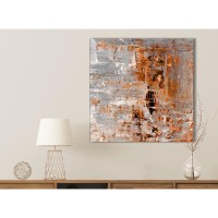 Burnt Orange Grey Painting Bathroom Canvas Wall Art ...