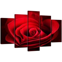 Extra Large Rose Canvas Wall Art 5 Panel in Red