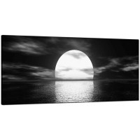 Modern Black and White Canvas Wall Art of an Ocean Sunset