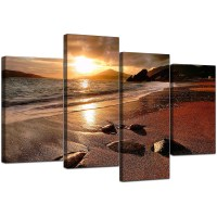 Canvas Art of Beach Sunset for your Living Room - 4 Panel