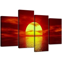 Sunset Canvas Wall Art in Red - for Living Room
