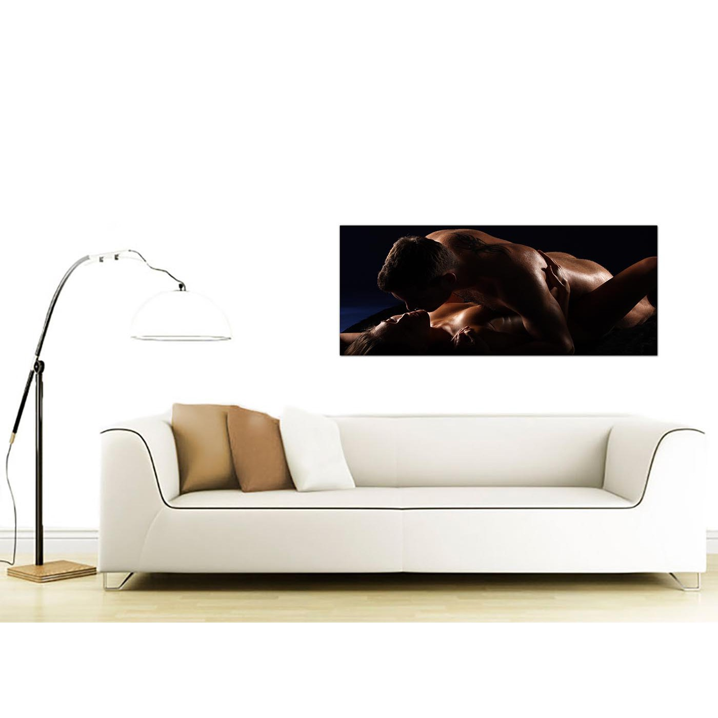 Large Brown Canvas Wall Art of a Bedroom Couple