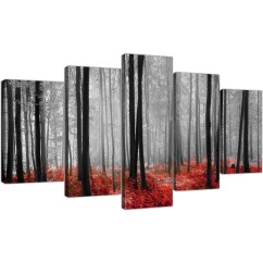 Canvas Prints For Living Room What Kind Of Paint Finish Extra Large Red Forest Woodland Trees In Black White Pictures Set 5 5236 Display Gallery Item 1