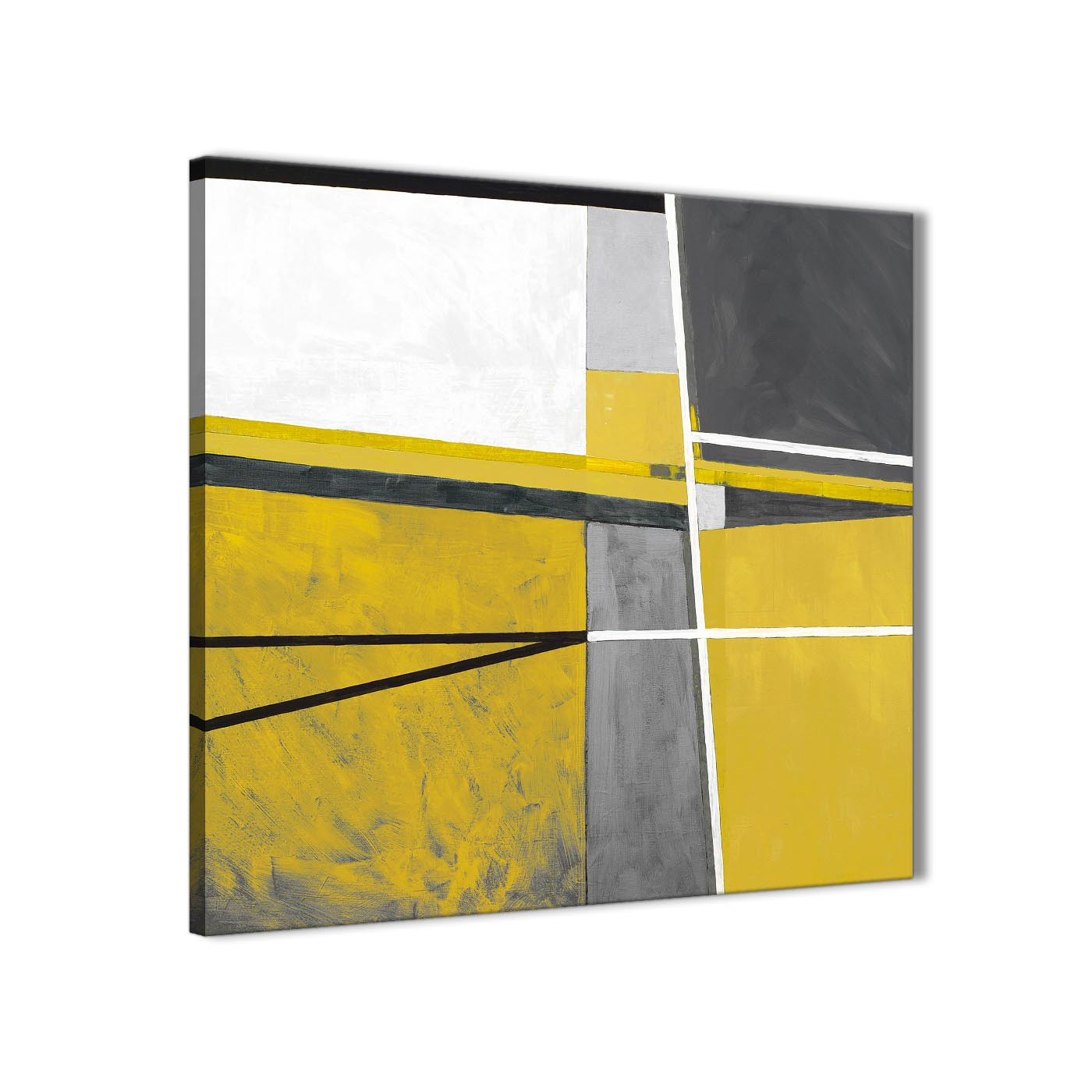 Mustard Yellow Grey Painting Kitchen Canvas Pictures
