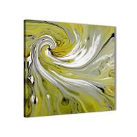 Lime Green Swirls Modern Abstract Canvas Wall Art