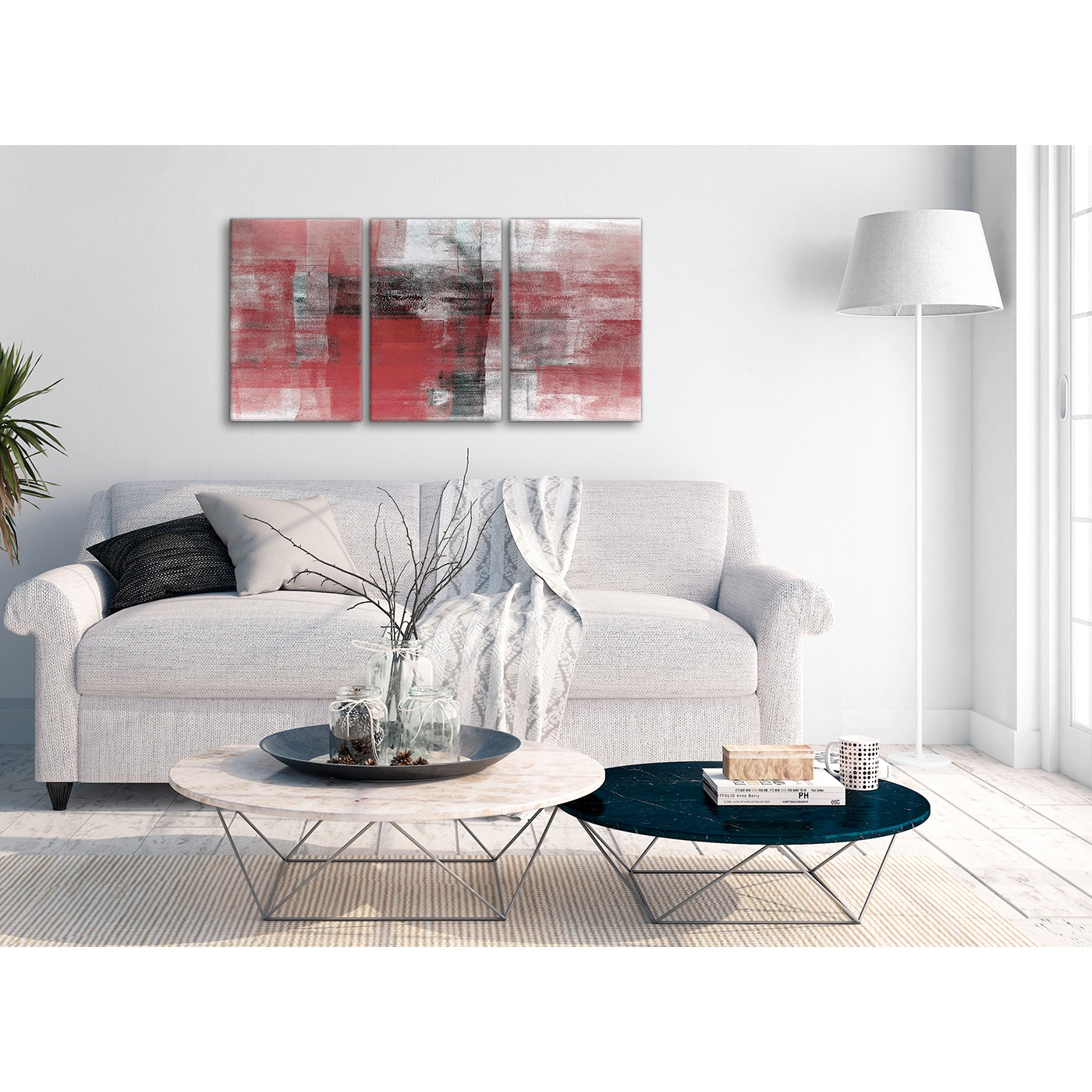 3 Piece Red Black White Painting Bedroom Canvas Wall Art