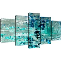 Extra Large Turquoise Teal Abstract Painting Wall Art ...
