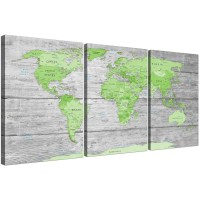 Large Lime Green Grey World Map Atlas Canvas Wall Art