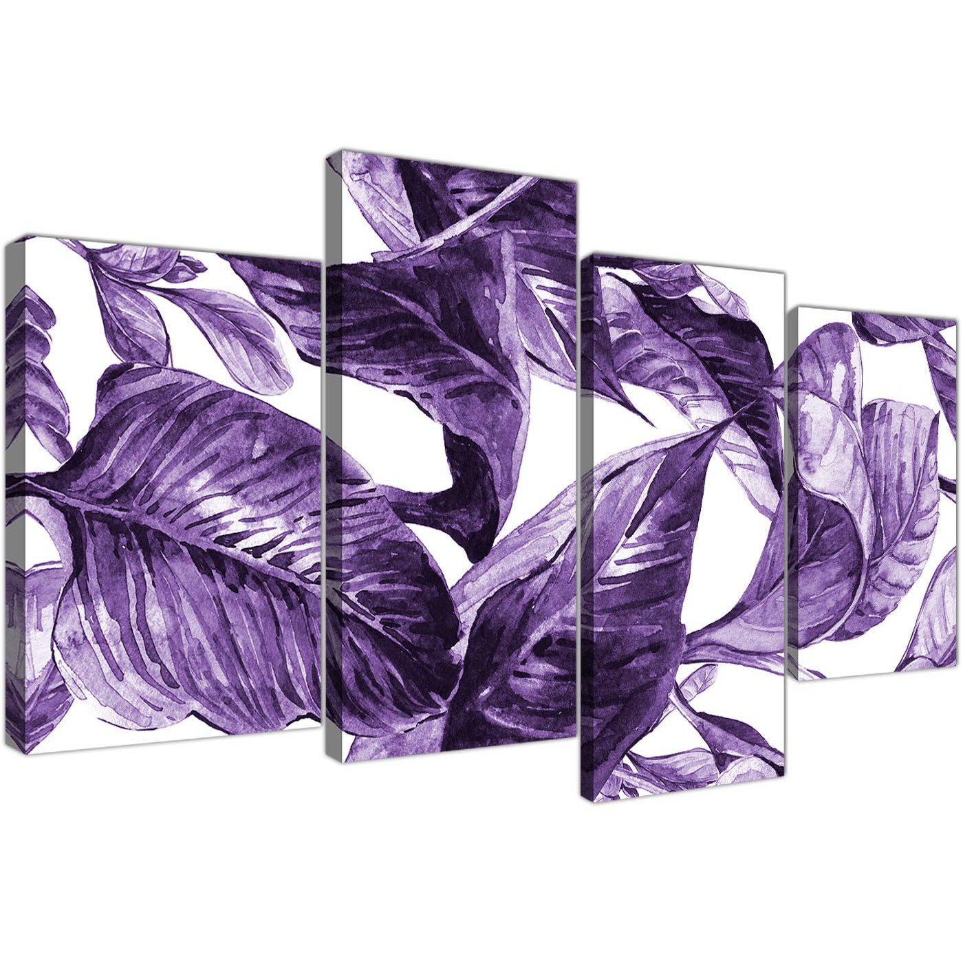 Large Dark Purple White Tropical Exotic Leaves Canvas Wall Art Multi 4 Piece 4322