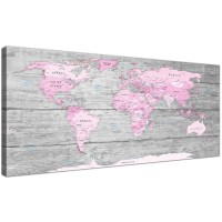 Large Pink Grey Map of World Atlas Canvas Wall Art Print ...