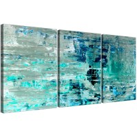 Turquoise Teal Abstract Painting Wall Art Print Canvas ...