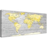 Large Yellow Grey Map of World Atlas Canvas Wall Art Print ...