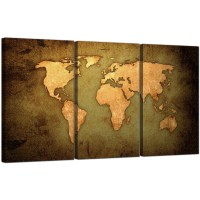 Vintage World Map Canvas Art Set of Three for your Study