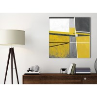 Mustard Yellow Grey Painting Bathroom Canvas Pictures