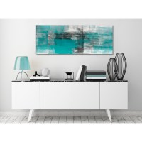 Teal Black White Painting Living Room Canvas Wall Art ...