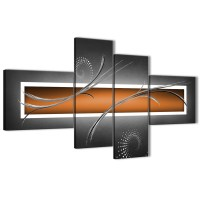 Large Orange Grey White Modern Abstract Canvas Wall Art ...