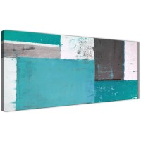 Teal Grey Abstract Painting Canvas Wall Art Modern 120cm ...