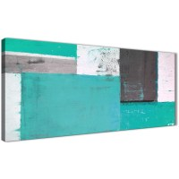 Turquoise Grey Abstract Painting Canvas Wall Art Modern ...
