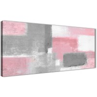 Blush Pink Grey Painting Bedroom Canvas Wall Art ...