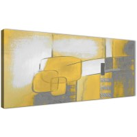 Mustard Yellow Grey Painting Bedroom Canvas Wall Art ...