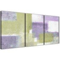 Lime Green Purple Abstract Painting Canvas Wall Art Print ...