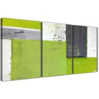 Lime Green Grey Abstract Painting Canvas Wall Art Print ...