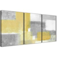 3 Panel Mustard Yellow Grey Kitchen Canvas Wall Art Decor