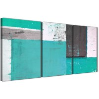 Turquoise Grey Abstract Painting Canvas Wall Art Multi Set ...