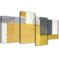 Large Mustard Yellow Grey Abstract Painting Canvas Wall ...