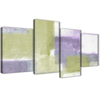Large Lime Green Purple Abstract Painting Canvas Wall Art ...