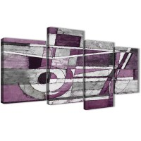 Large Aubergine Grey White Painting Abstract Bedroom ...