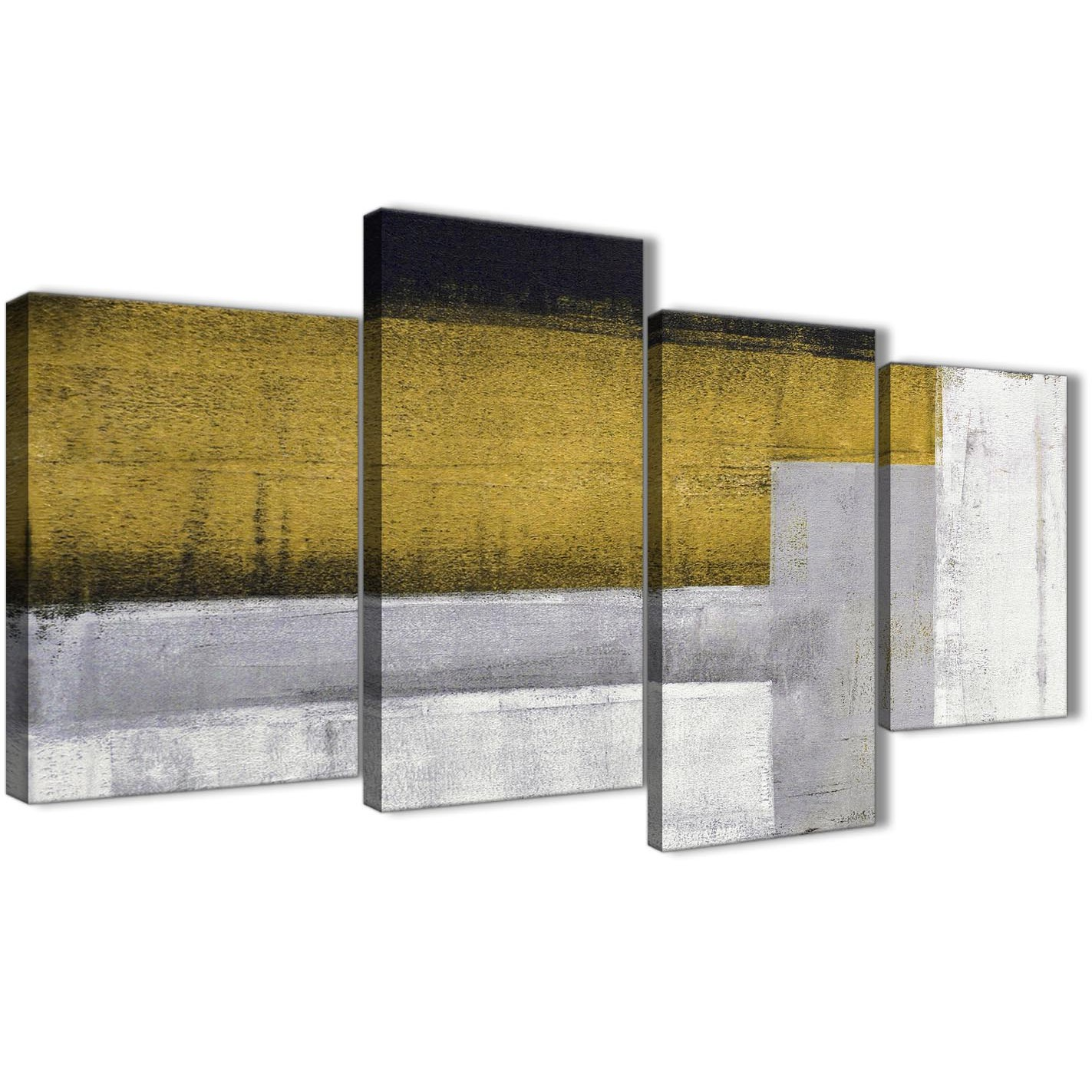 Large Mustard Yellow Grey Painting Abstract Bedroom Canvas