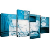 Large Teal White Painting Abstract Bedroom Canvas Wall Art ...