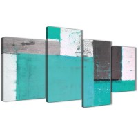 Large Turquoise Grey Abstract Painting Canvas Wall Art ...