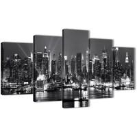 5 Panel Landscape Canvas Wall Art Prints - New York Hudson ...
