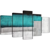 5 Panel Teal Turquoise Grey Painting Abstract Office ...