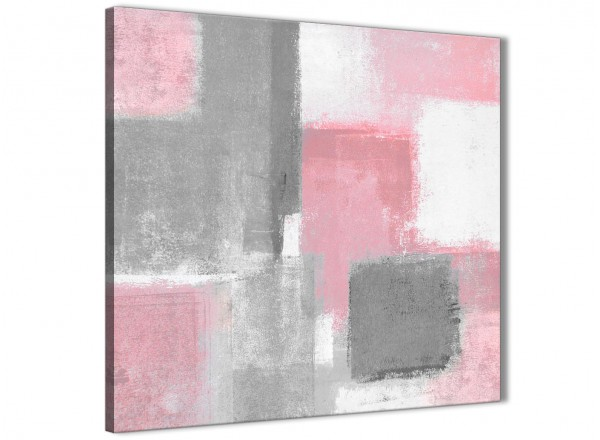 Blush Pink Grey Painting Kitchen Canvas Pictures Accessories Abstract 1s378s 49cm Square Print