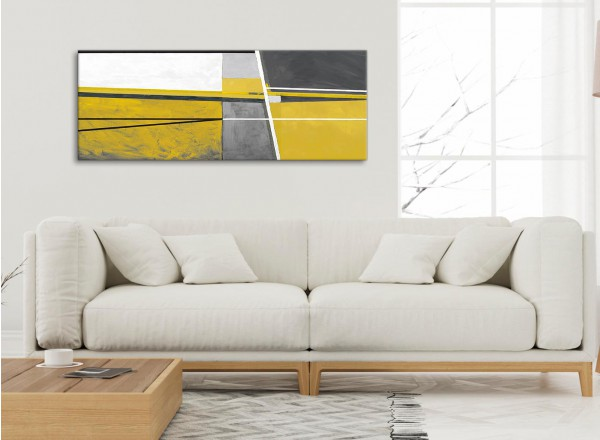 Mustard Yellow Grey Painting Living Room Canvas Wall Art Accessories Abstract 1388 120cm Print
