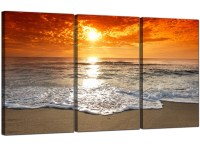 Cheap Beach Sunset Canvas Prints UK Set of 3 for your ...
