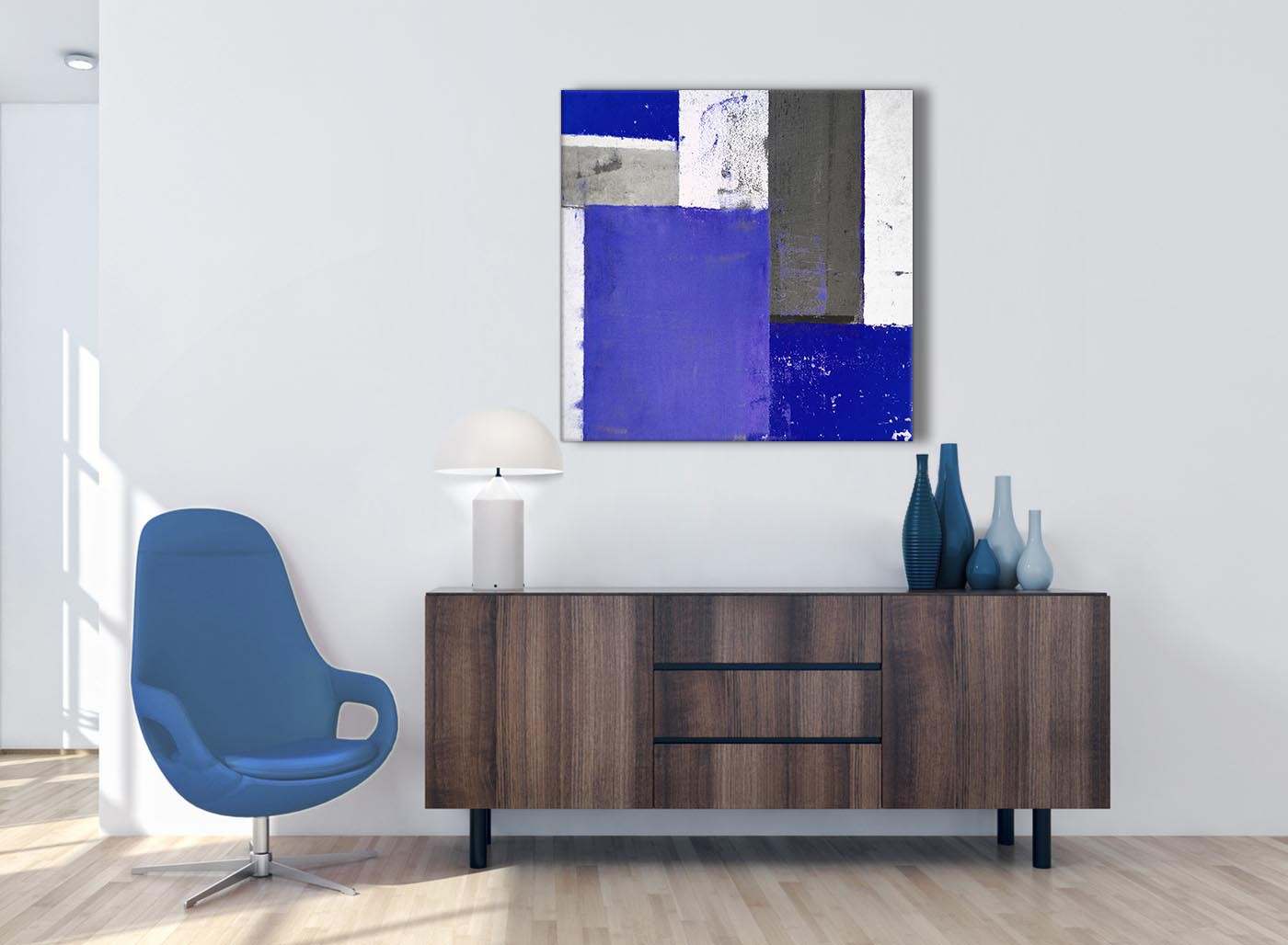 Indigo Navy Blue Abstract Painting Canvas Wall Art Print Modern 79cm Square 1s338l